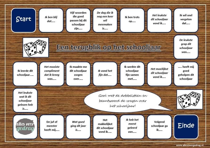 Onwijs Speel het 'terugblik op het schooljaar' spel - Alles over gedrag NR-05
